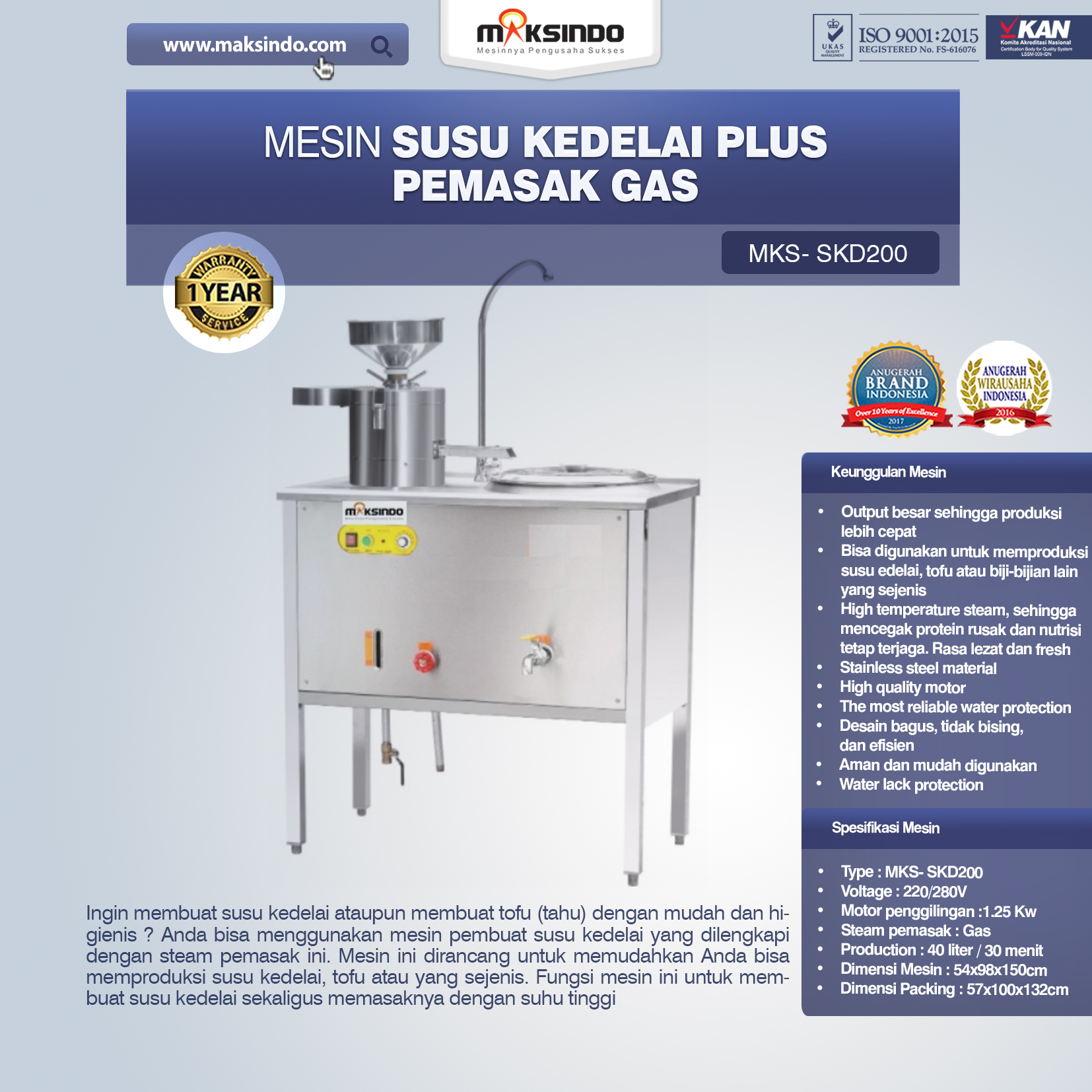 Jual Mesin Susu Kedelai Plus Pemasak Gas (SKD200) di Makassar