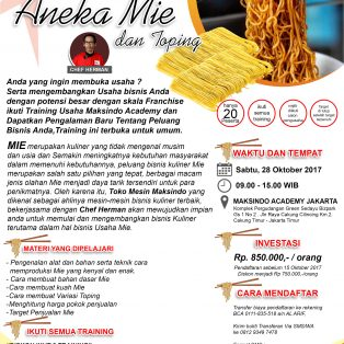 Training Usaha Aneka Mie dan Toping, 28 Oktober 2017