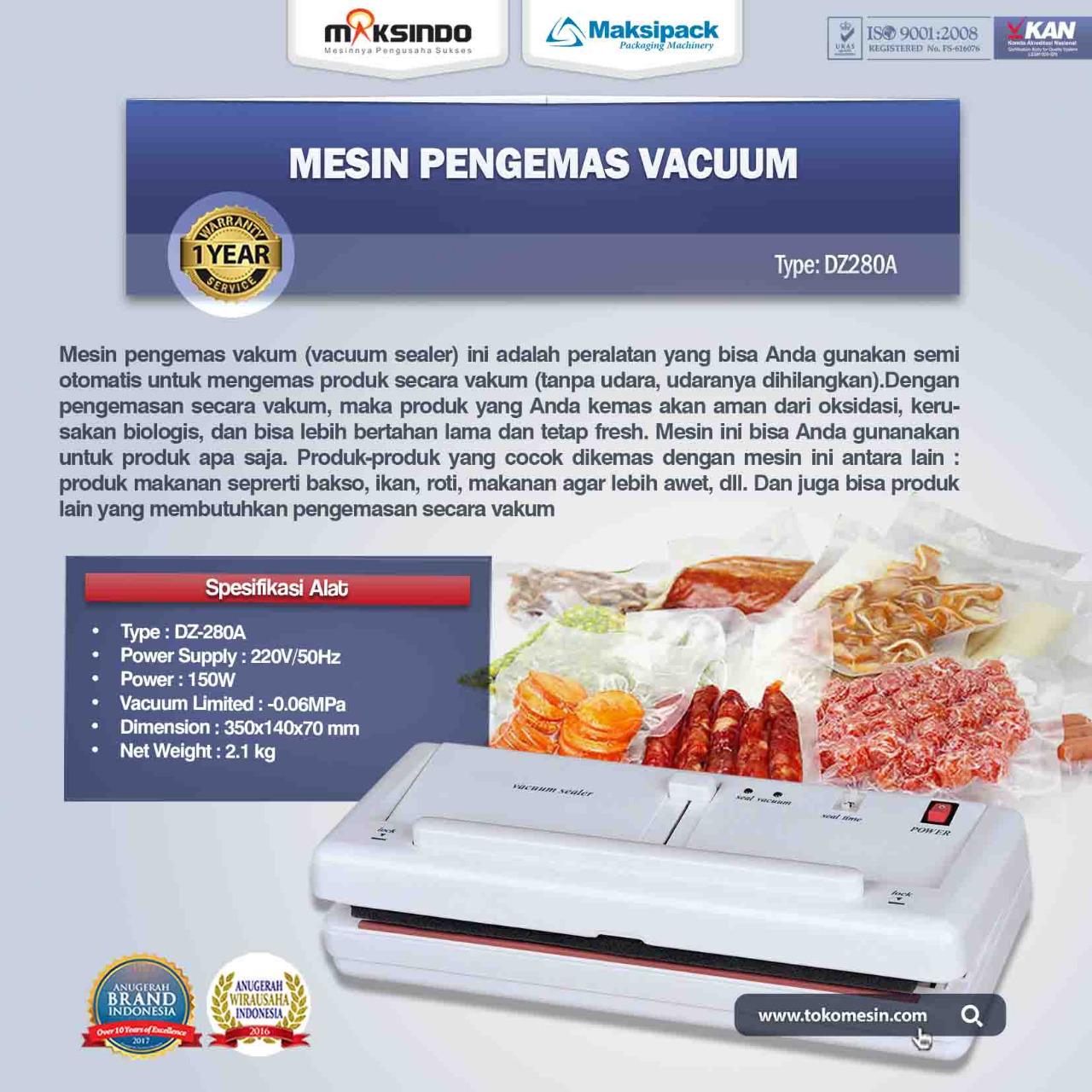 Jual Mesin Vacuum Sealer (DZ280A) di Makassar
