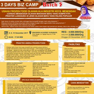 Training Usaha Frozen Food, 8 – 10 Desember 2017