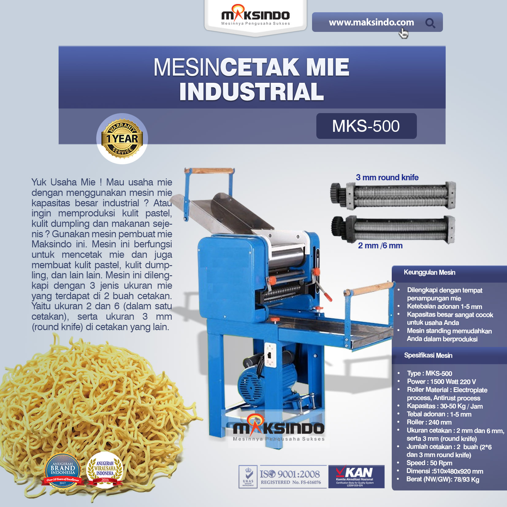 Jual Mesin Cetak Mie Industrial (MKS-500) di Makassar