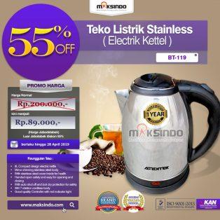 Jual Teko Listrik Stainless (Electrik Kettel) BT-119 di Makassar