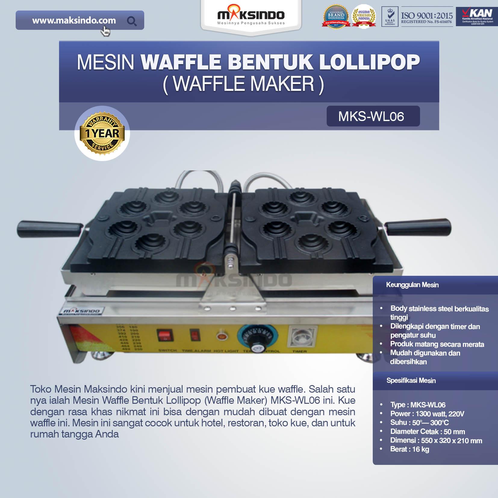 Jual Mesin Waffle Bentuk Lollipop (Waffle Maker) MKS-WL06 di Makassar
