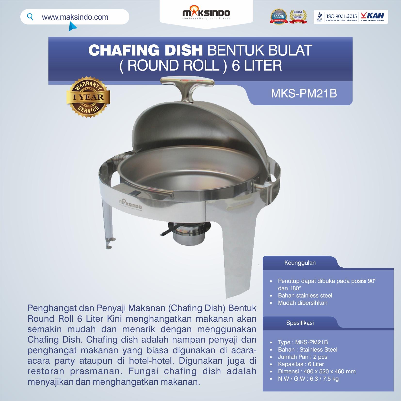Jual Chafing Dish Bentuk Bulat (Round Roll) 6 Liter di Makassar