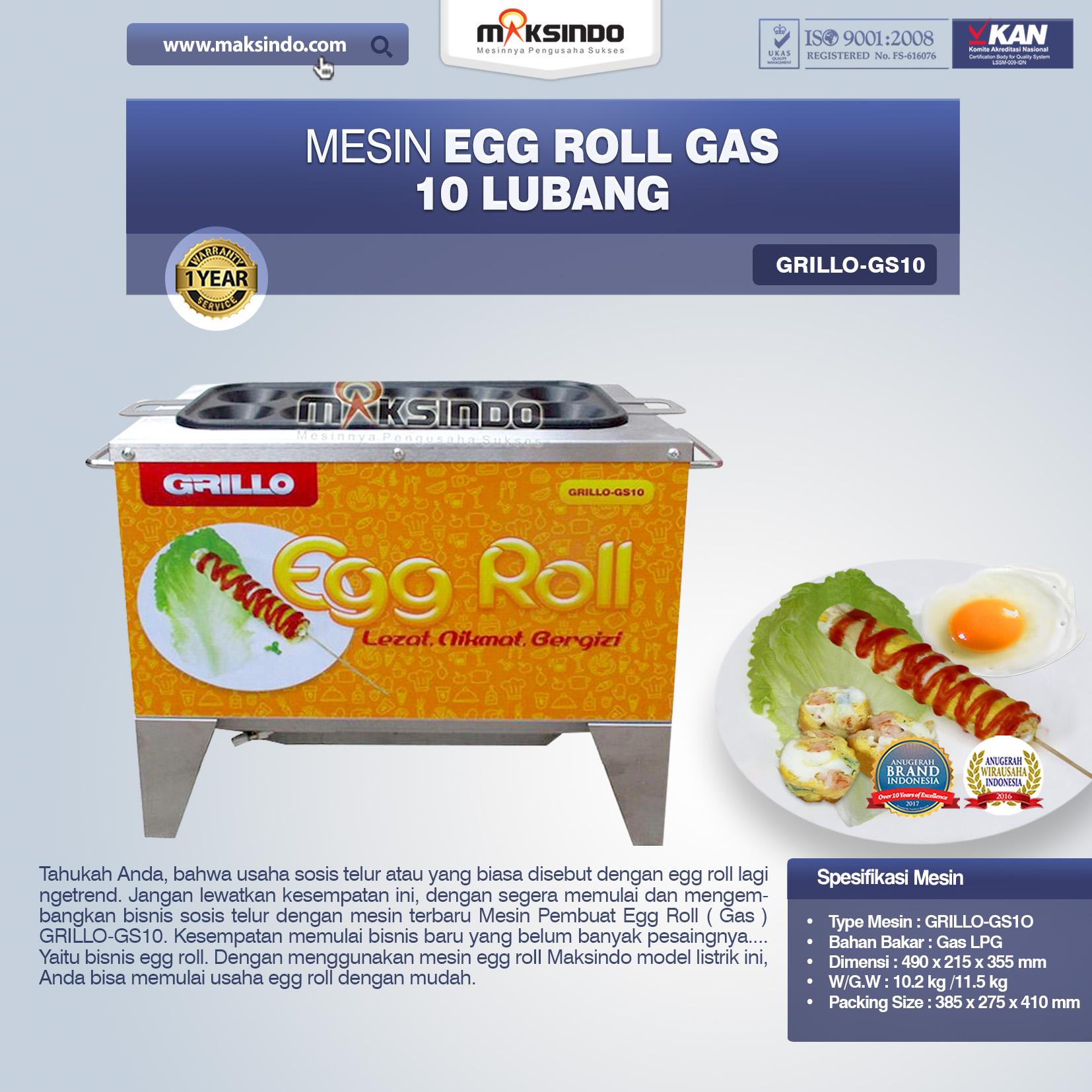 Jual Egg Roll Gas 10 Lubang GRILLO-GS10 di Makassar