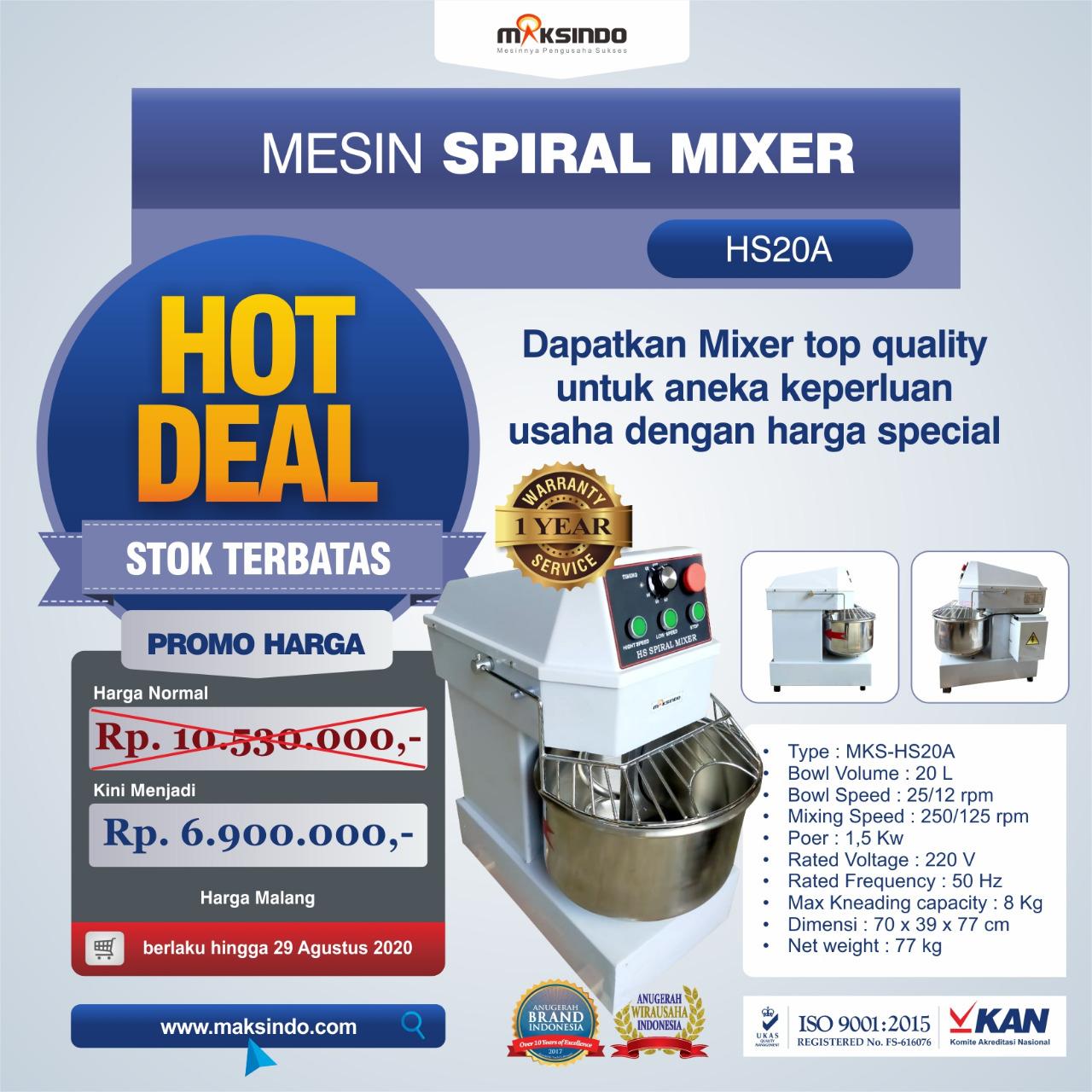 Jual Mesin Mixer Roti SPIRAL MKS-HS20A di Makassar