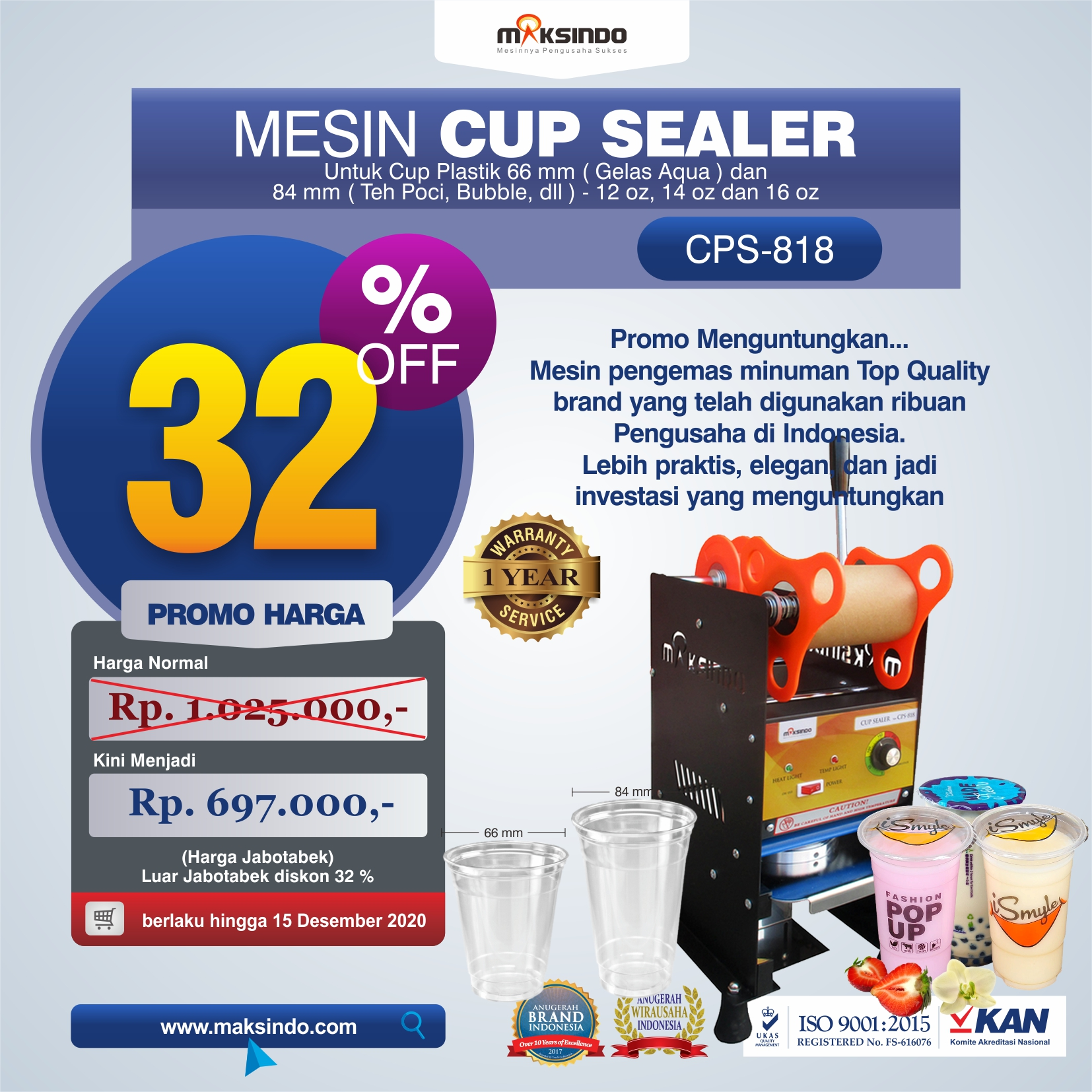 Jual Mesin Cup Sealer Manual (CPS-818) di Makassar