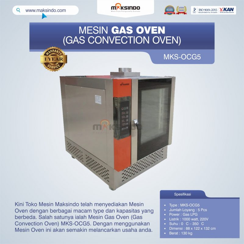 Jual Mesin Gas Oven (Gas Convection Oven) MKS-OCG5 di Makassar