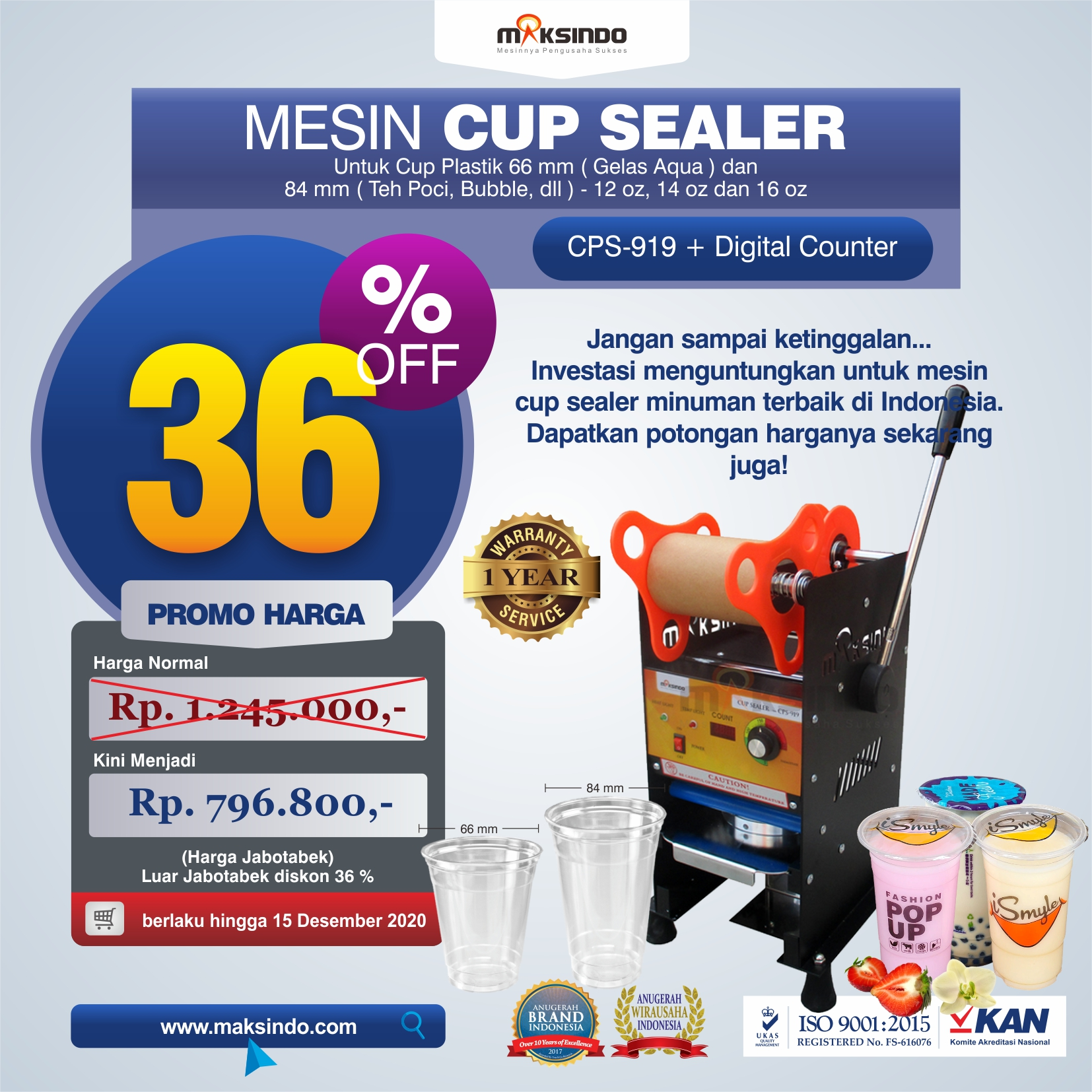 Jual Cup Sealer Manual plus Counter (CPS-919) di Makassar