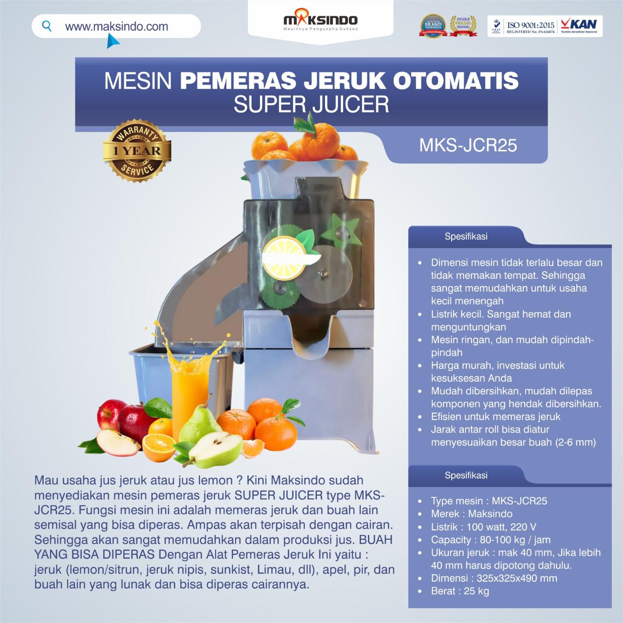 Jual Mesin Pemeras Jeruk Otomatis Super Juicer MKS-JCR25 di Makassar