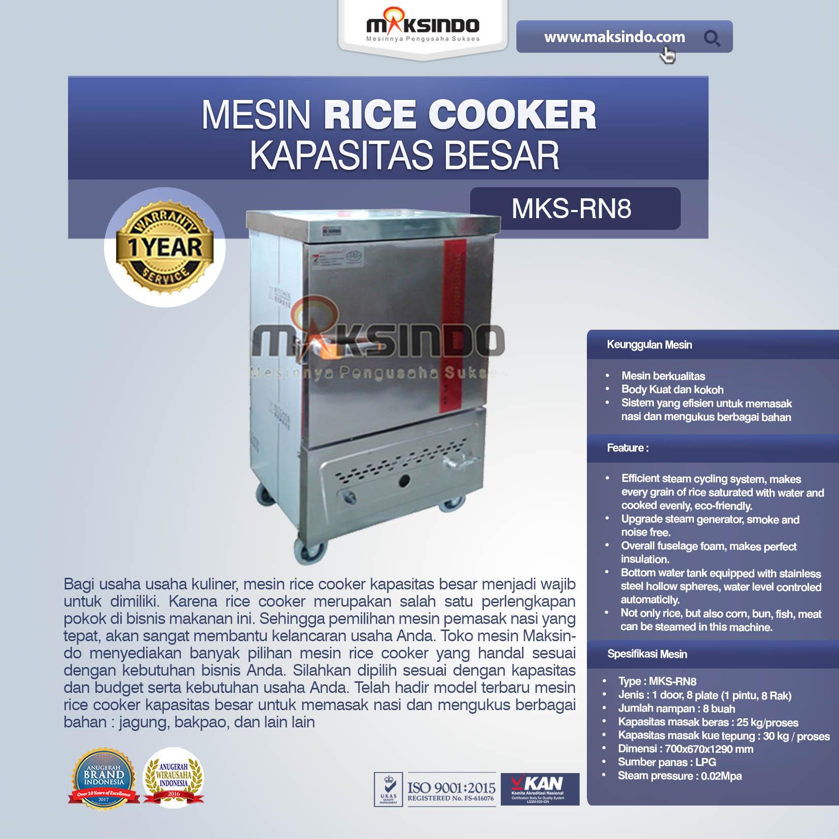 Jual Rice Cooker Kapasitas Besar 25 kg 8 Rak di Makassar