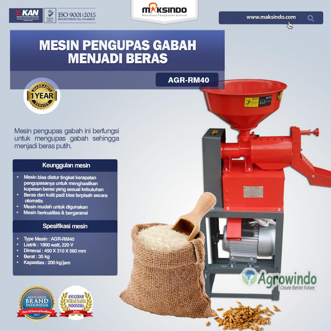 Jual Mesin Rice Huller Mini Pengupas Gabah – Beras AGR-RM40 di Makassar