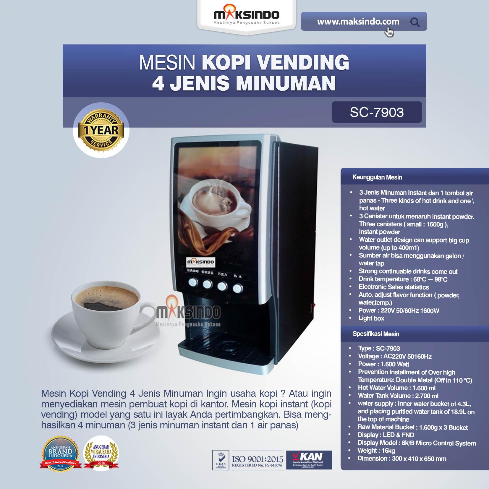 Jual Mesin Kopi Vending 4 Jenis Minuman di Makassar