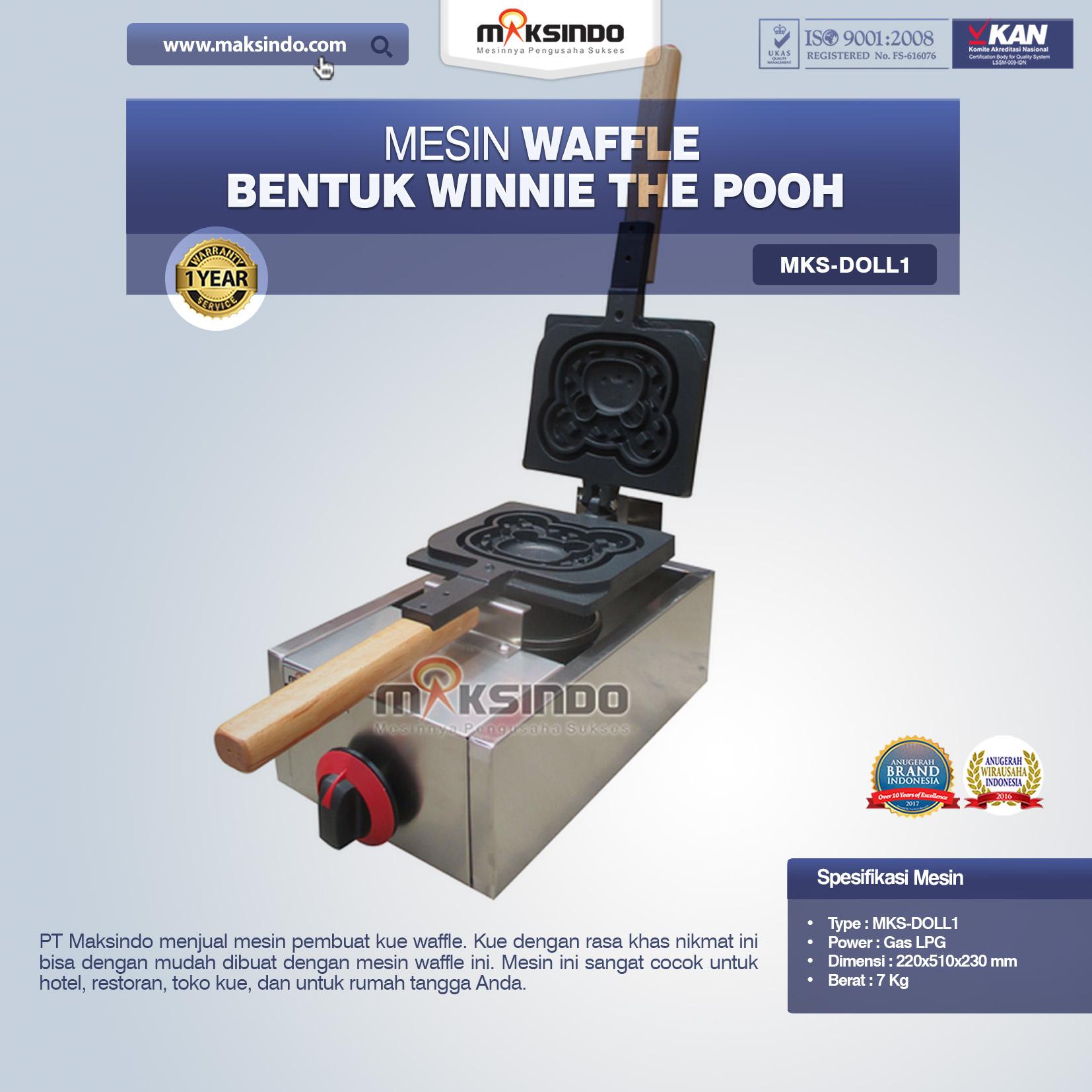 Jual Mesin Waffle Bentuk Winnie The Pooh MKS-DOLL1 di Makassar
