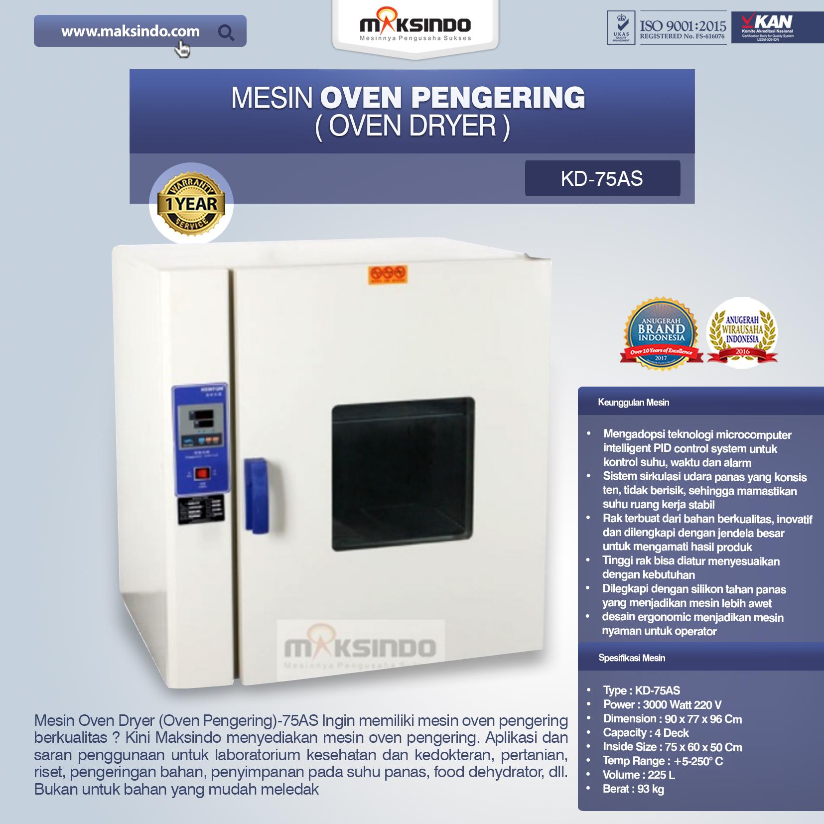 Jual Mesin Oven Pengering (Oven Dryer)-75AS di Makassar