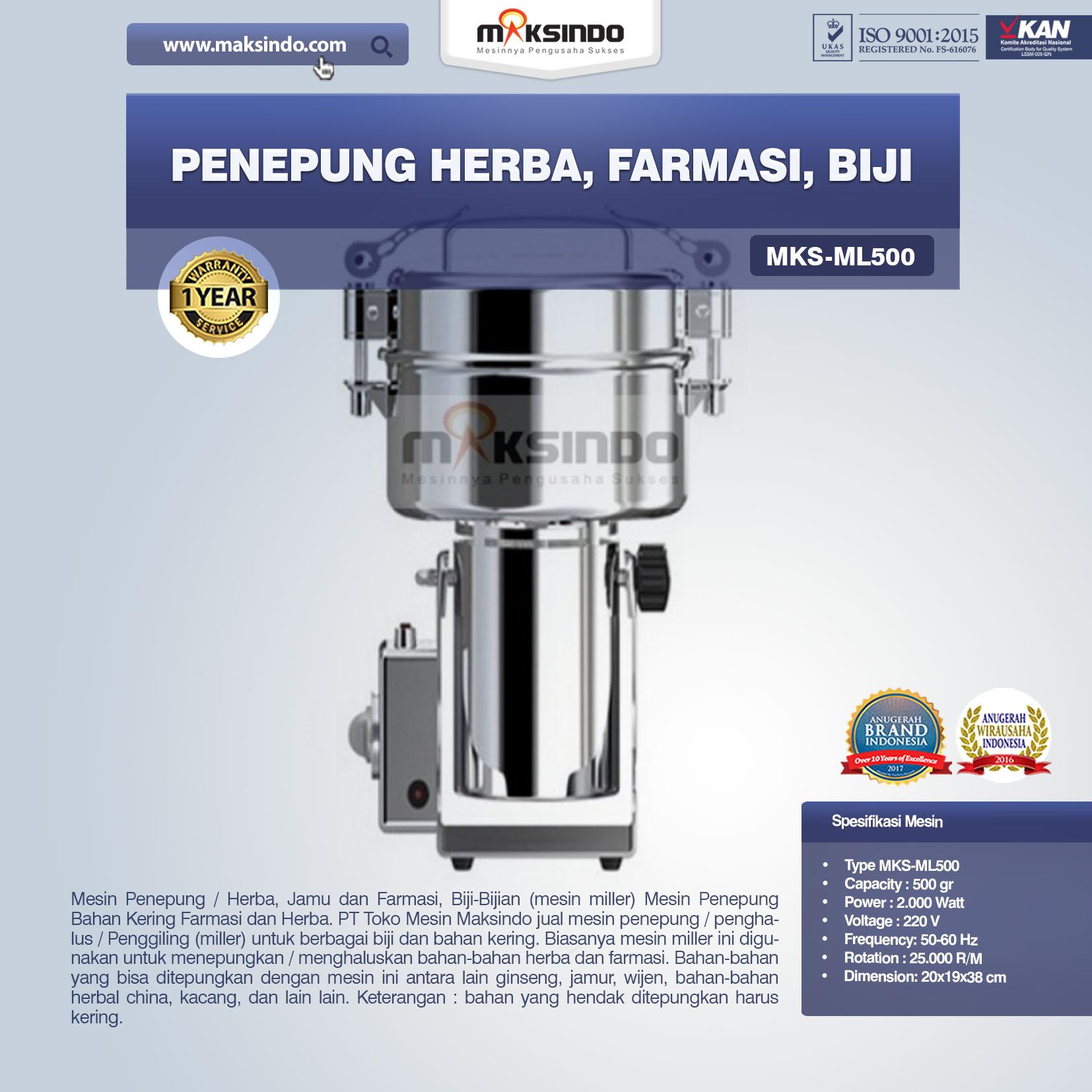 Jual Penepung Herba, Farmasi, Biji (ML500) di Makassar