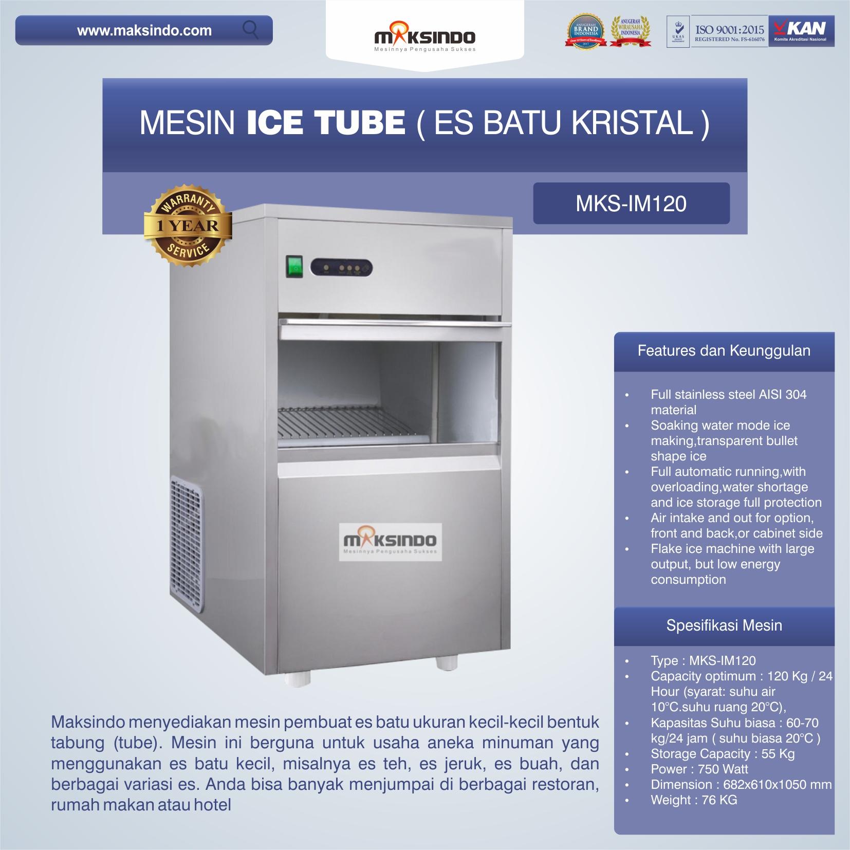 Jual Mesin Ice Tube (Es Batu Kristal) – IM120 di Makassar