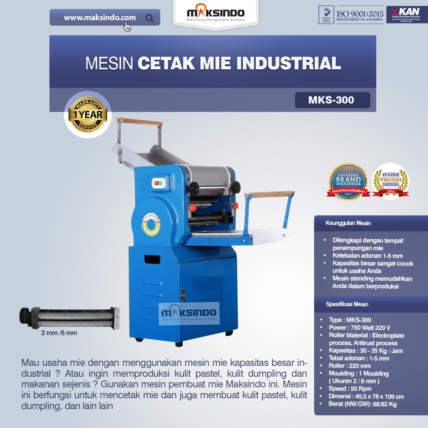 Jual Mesin Cetak Mie Industrial (MKS-300) di Makassar