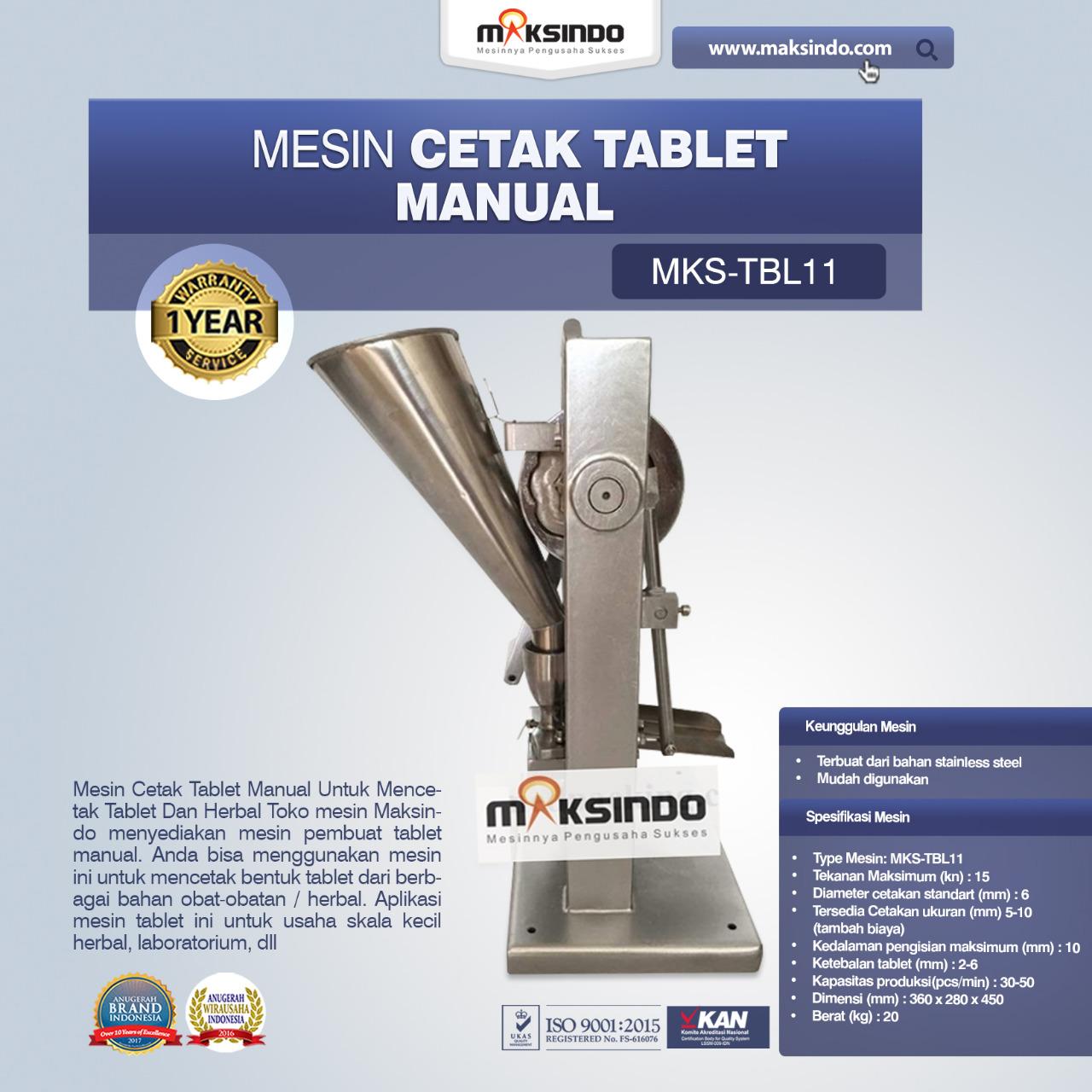 Jual Mesin Cetak Tablet Manual – MKS-TBL11 di Makassar