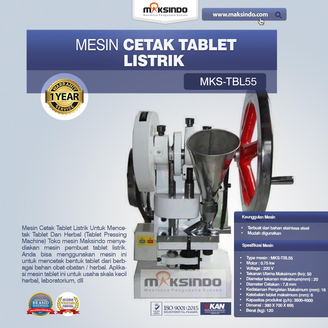 Jual Mesin Cetak Tablet Listrik – TBL55 di Makassar