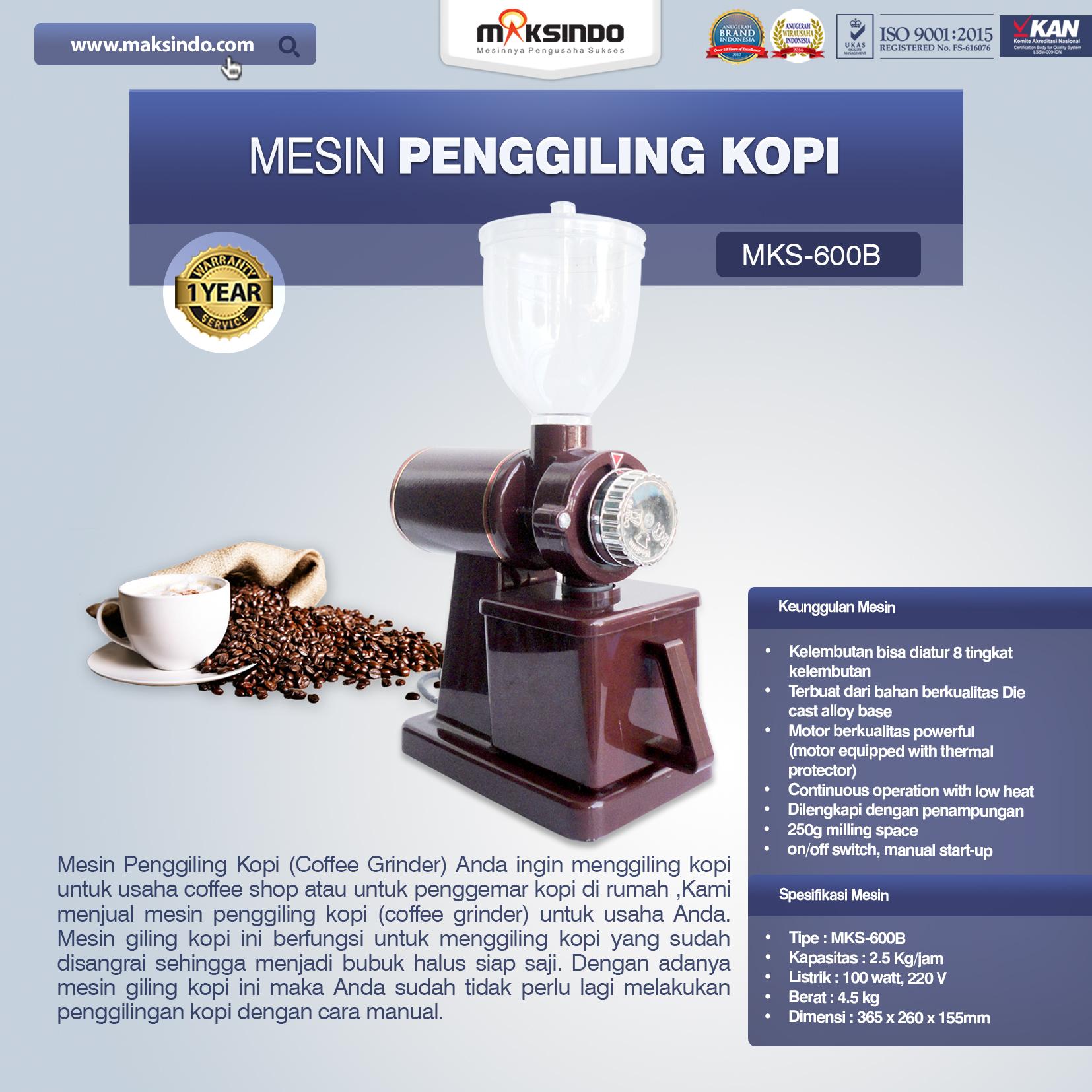 Jual Mesin Penggiling Kopi (MKS-600B) di Makassar