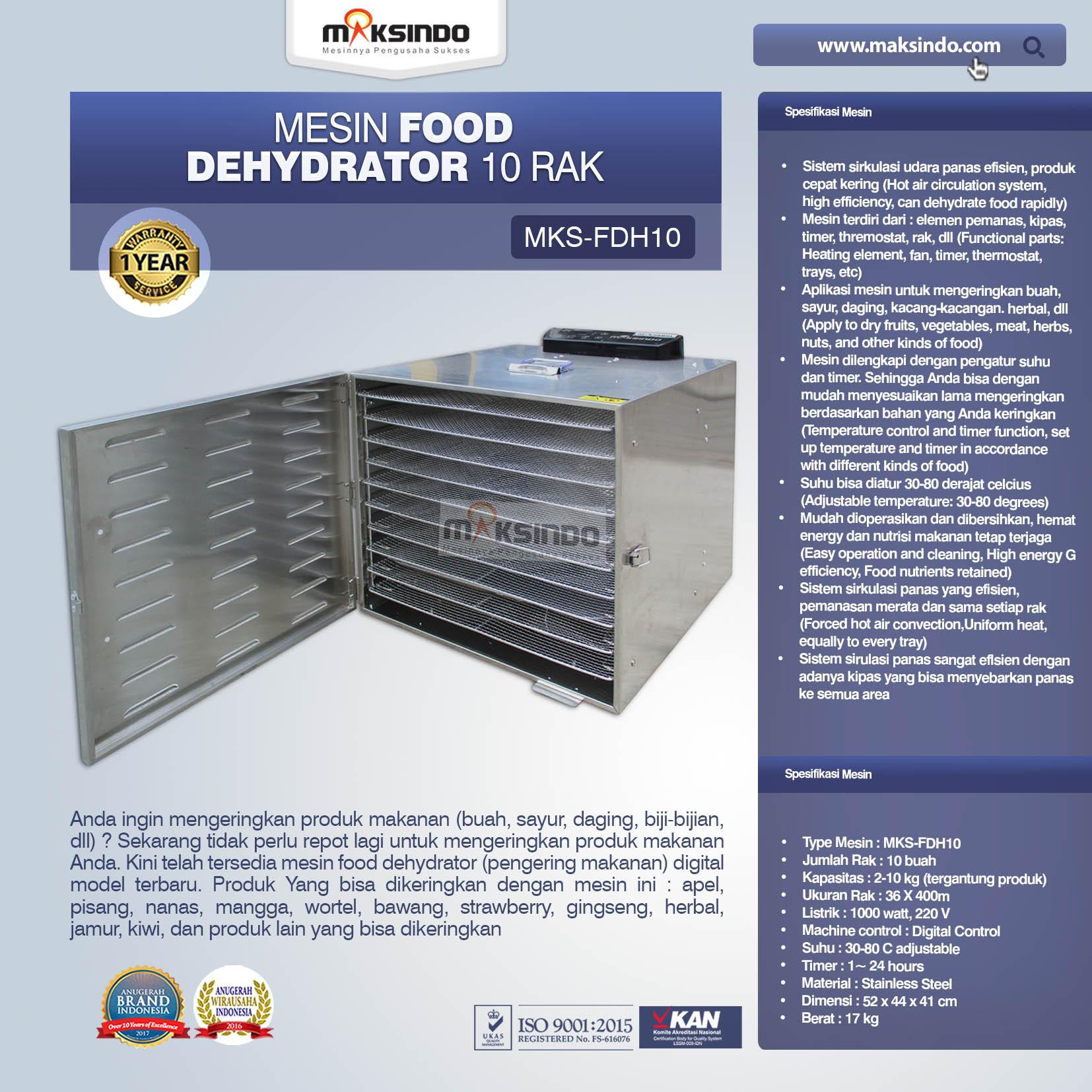 Jual Mesin Food Dehydrator 10 Rak (FDH10) di Makassar