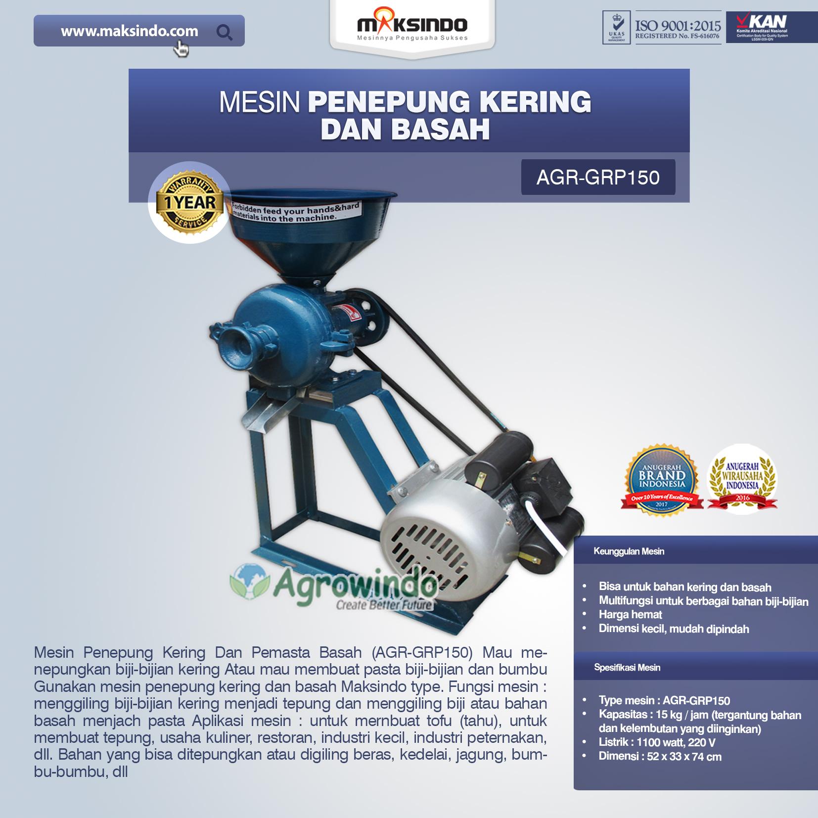 Jual Mesin Penepung Kering dan Basah (GRP150) di Makassar