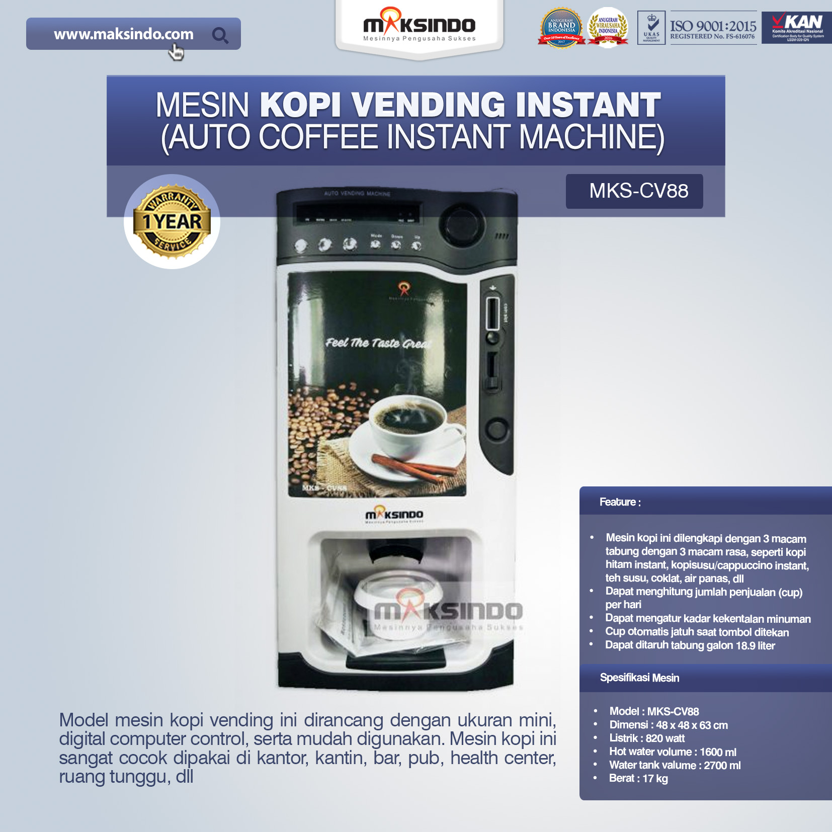 Jual Mesin Kopi Instant (Auto Coffee Instant Machine) MKS-CV88 di Makassar