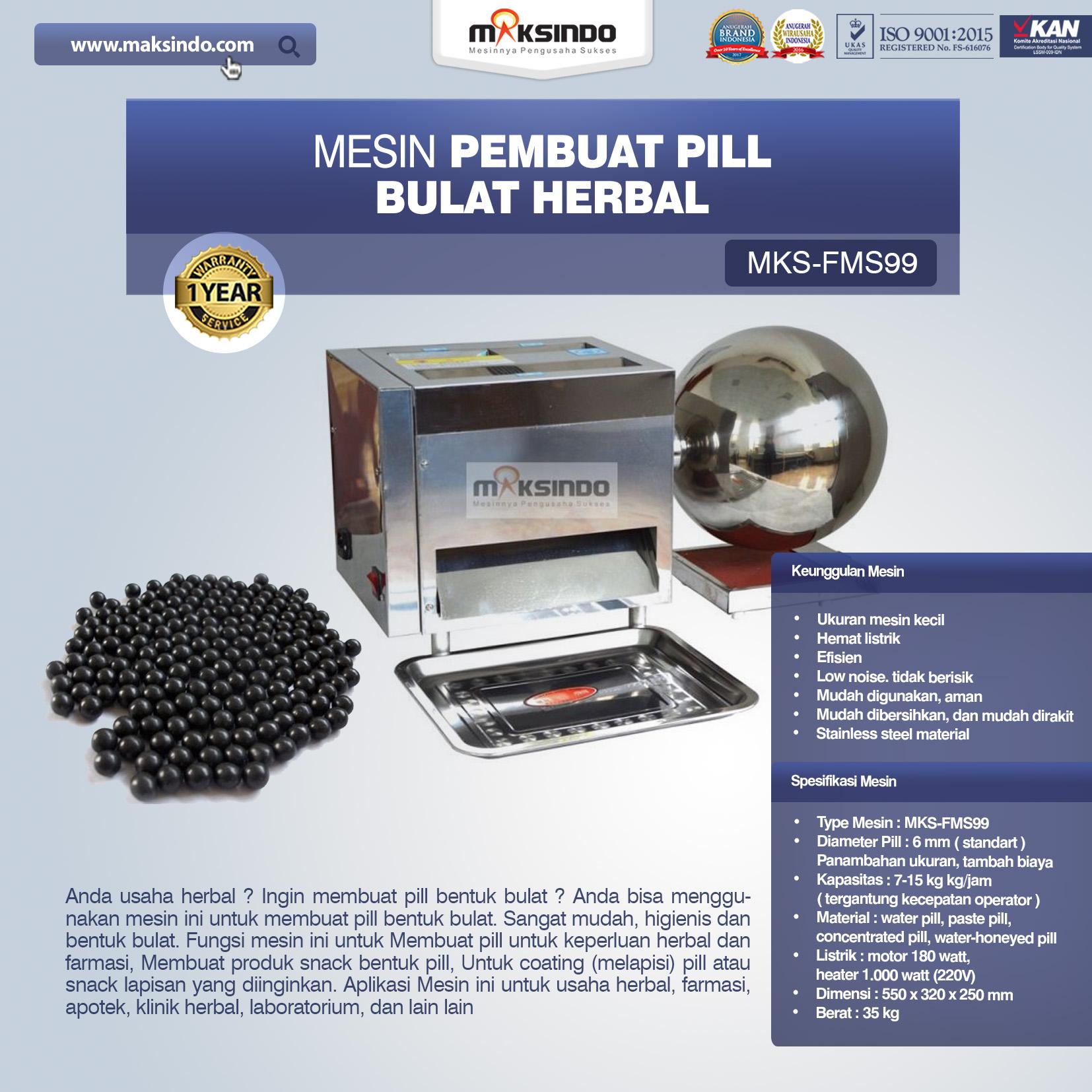 Jual Mesin Pembuat Pill Bulat Herbal (FMS99) di Makassar