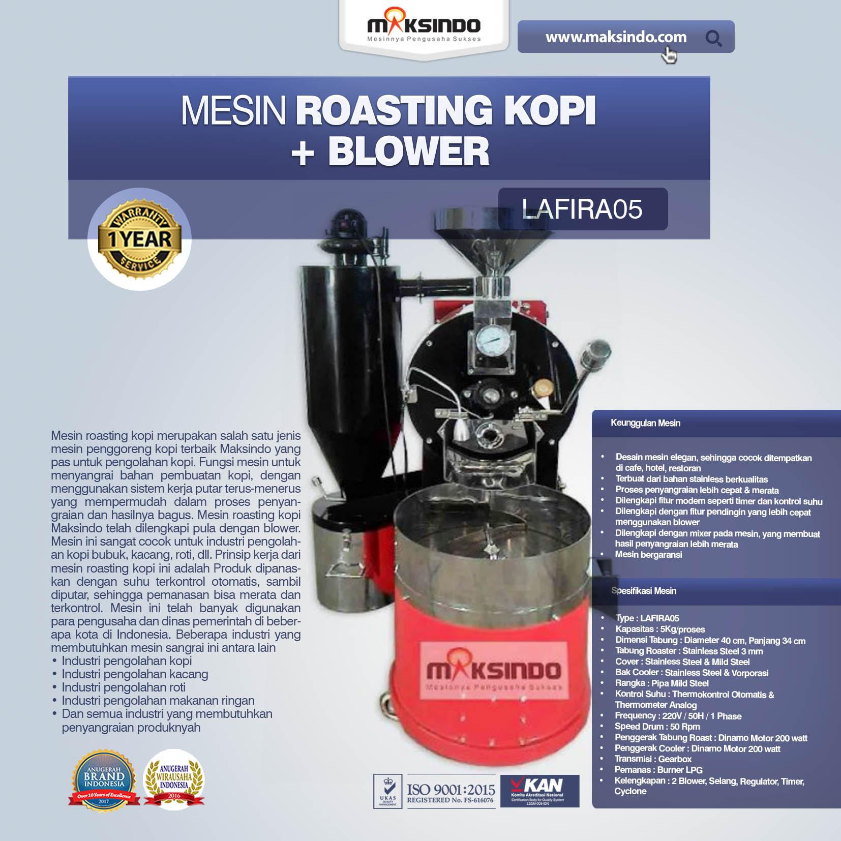 Jual Mesin Roasting Kopi + Blower LAFIRA05 di Makassar