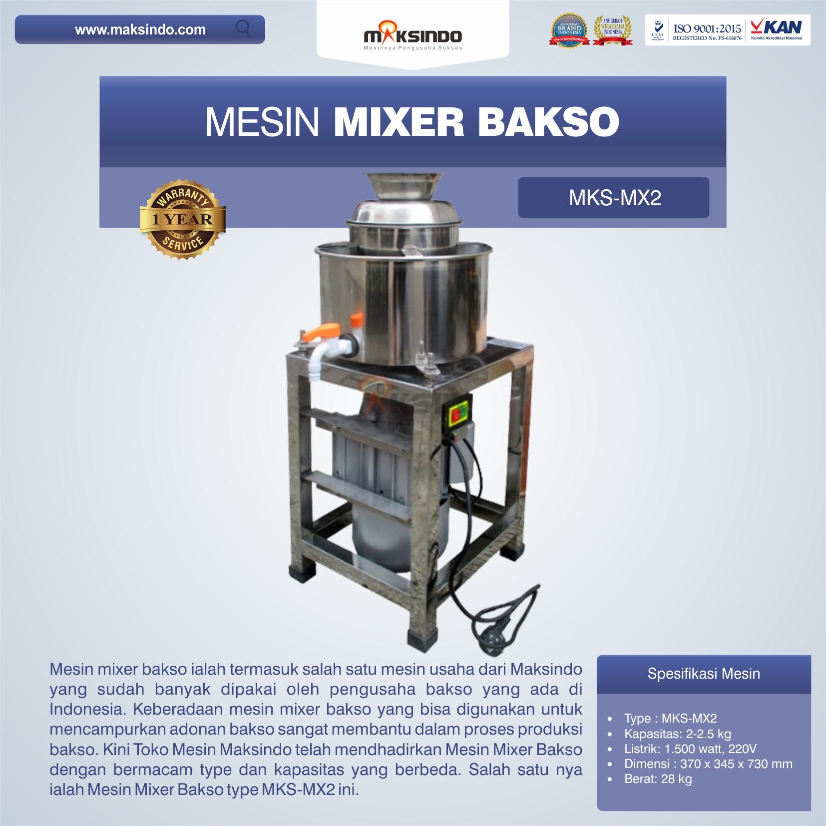 Jual Mesin Mixer Bakso MKS-MX2 di Makassar