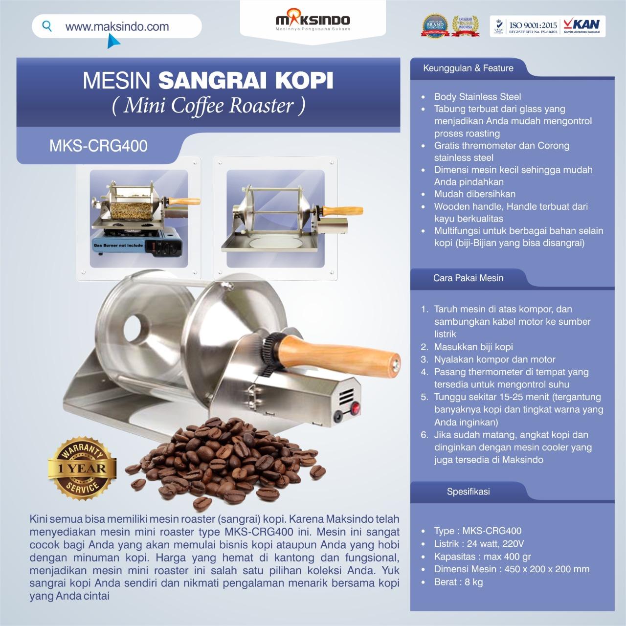 Jual Mesin Sangrai Kopi (Coffee Roaster) MKS-CRG400 di Makassar