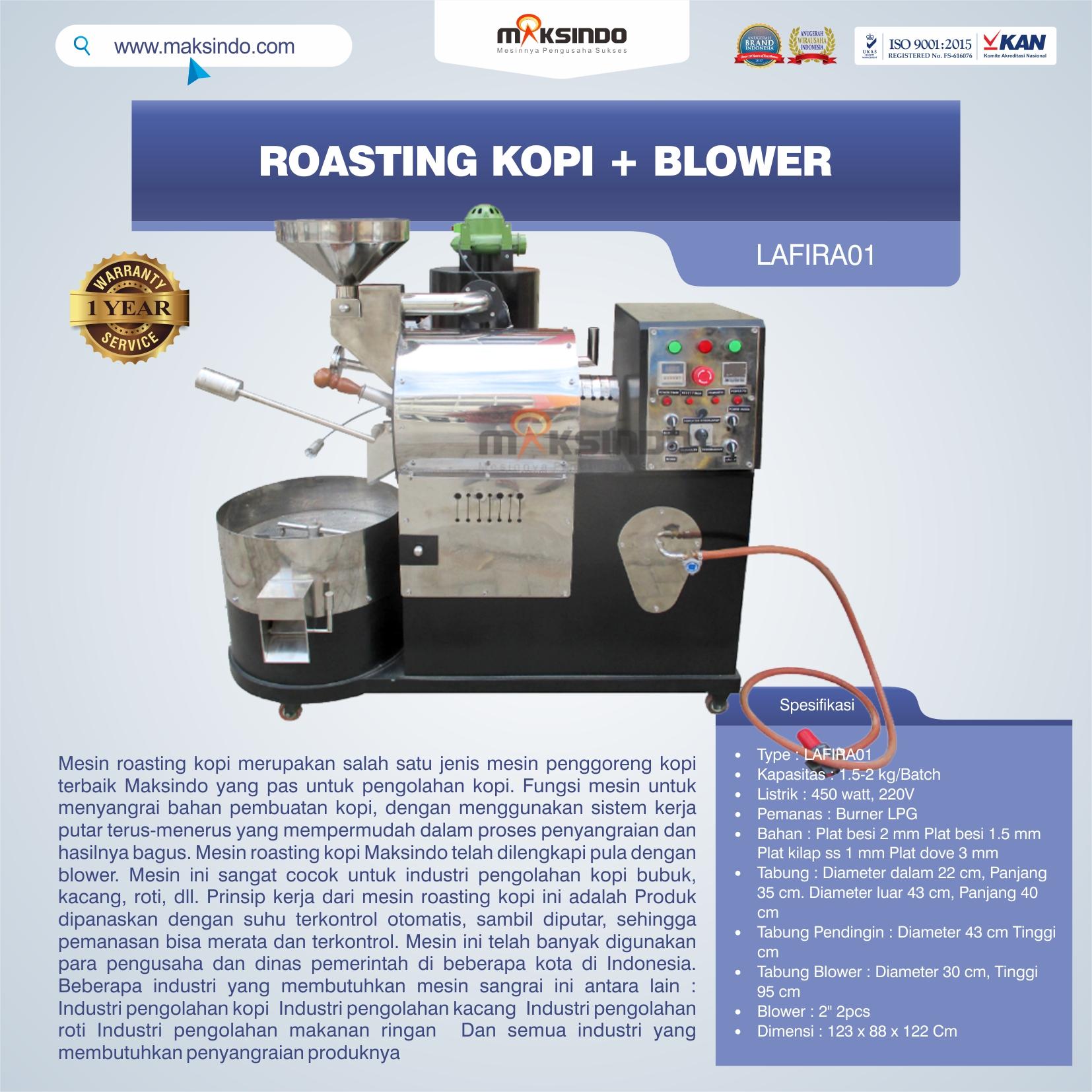 Jual Roasting Kopi + Blower LAFIRA01 di Makassar