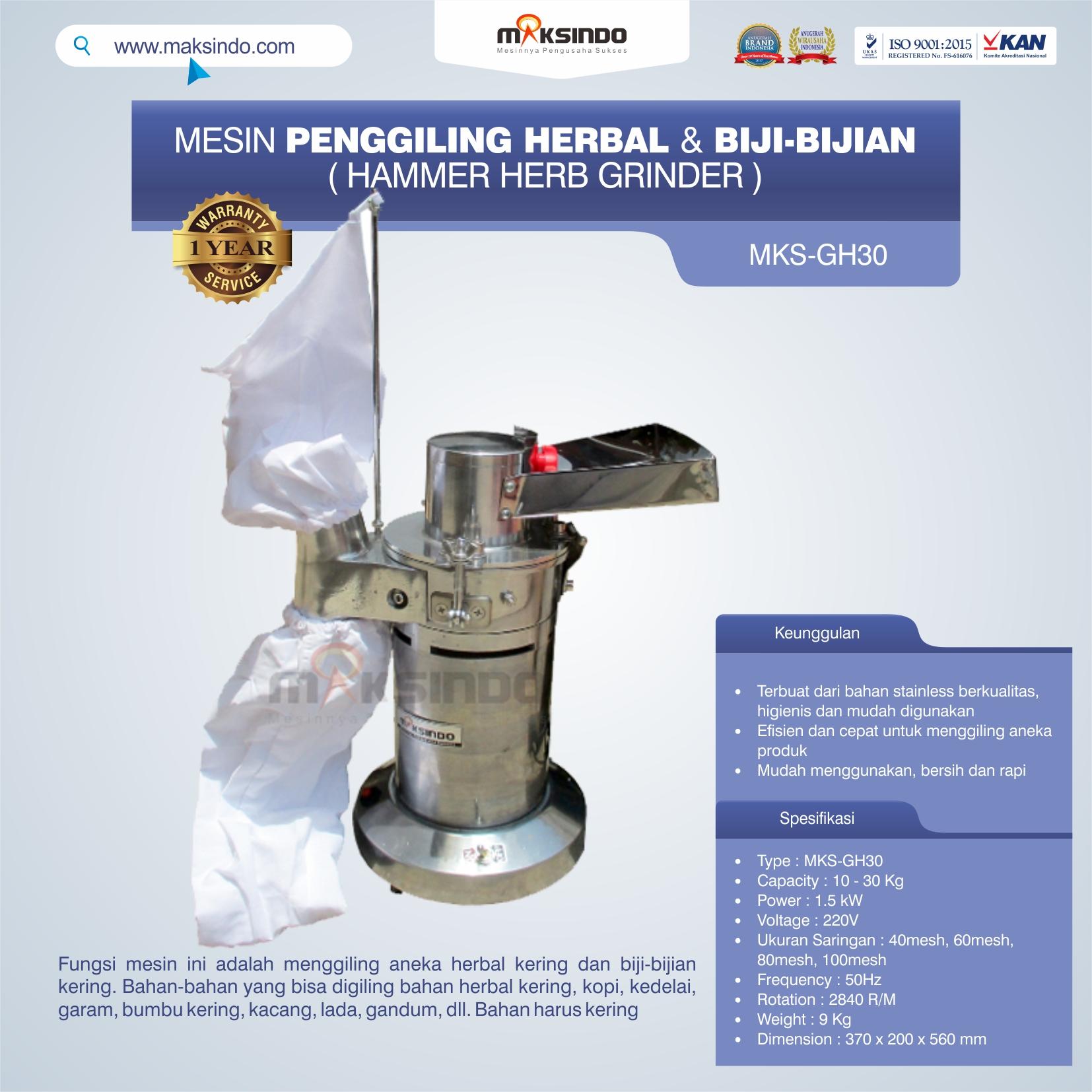 Jual Penggiling Herbal dan Biji-Bijian (GH-30) di Makassar
