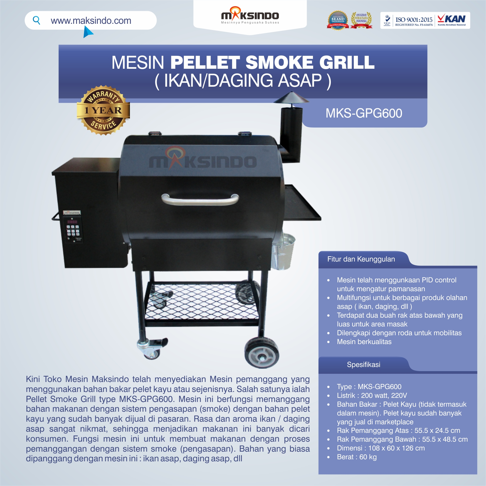 Jual Pellet Grill MKS-GPG600 di Makassar