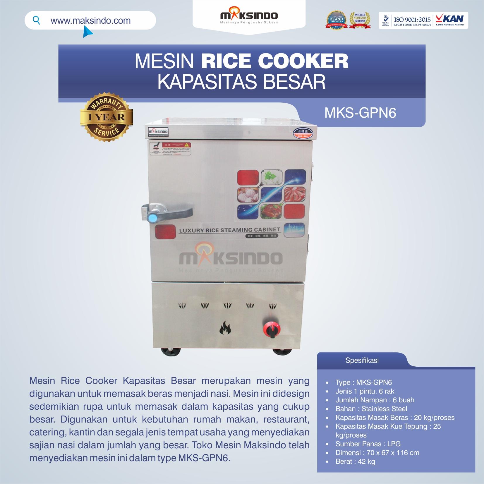 Jual Mesin Rice Cooker Kapasitas Besar MKS-GPN6 di Makassar