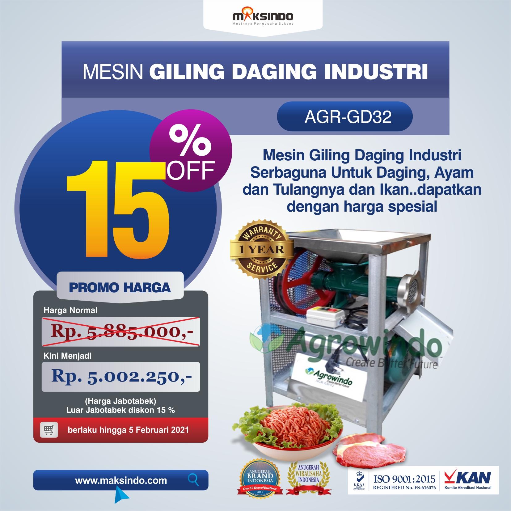 Jual Mesin Giling Daging Industri (AGR-GD32) di Makassar