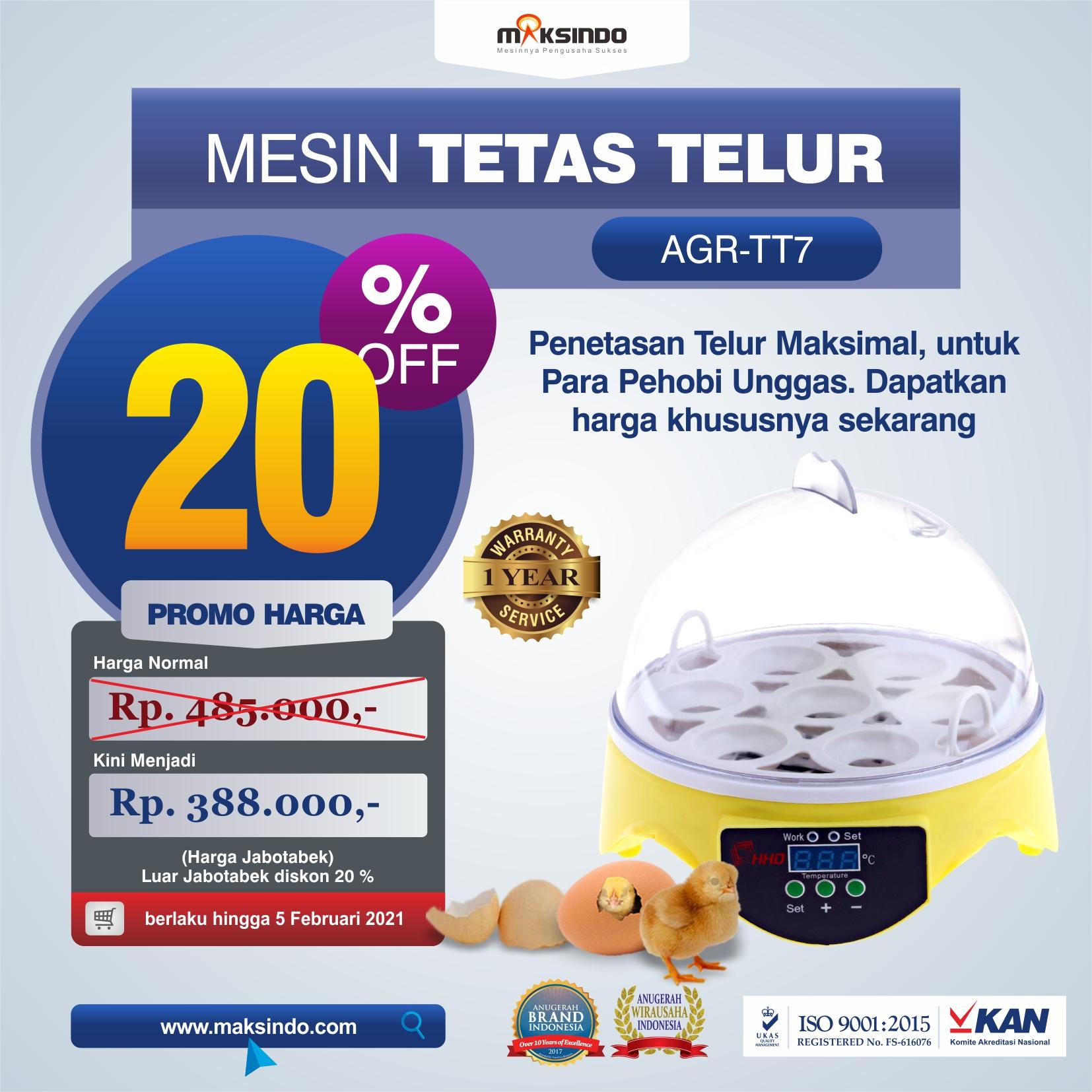 Jual Mesin Penetas Telur 7 Butir di Makassar