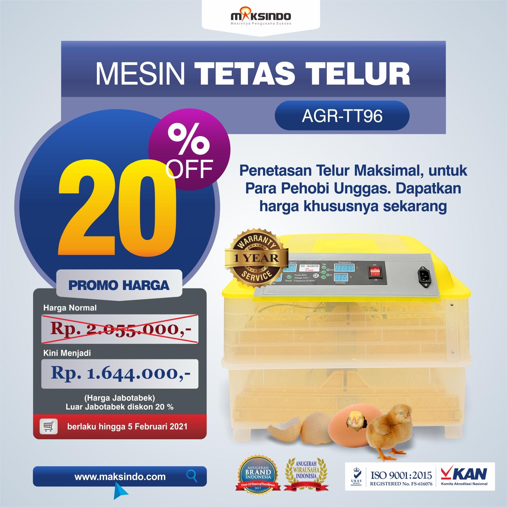 Jual Mesin Penetas Telur 96 Butir Otomatis – AGR-TT96 di Makassar