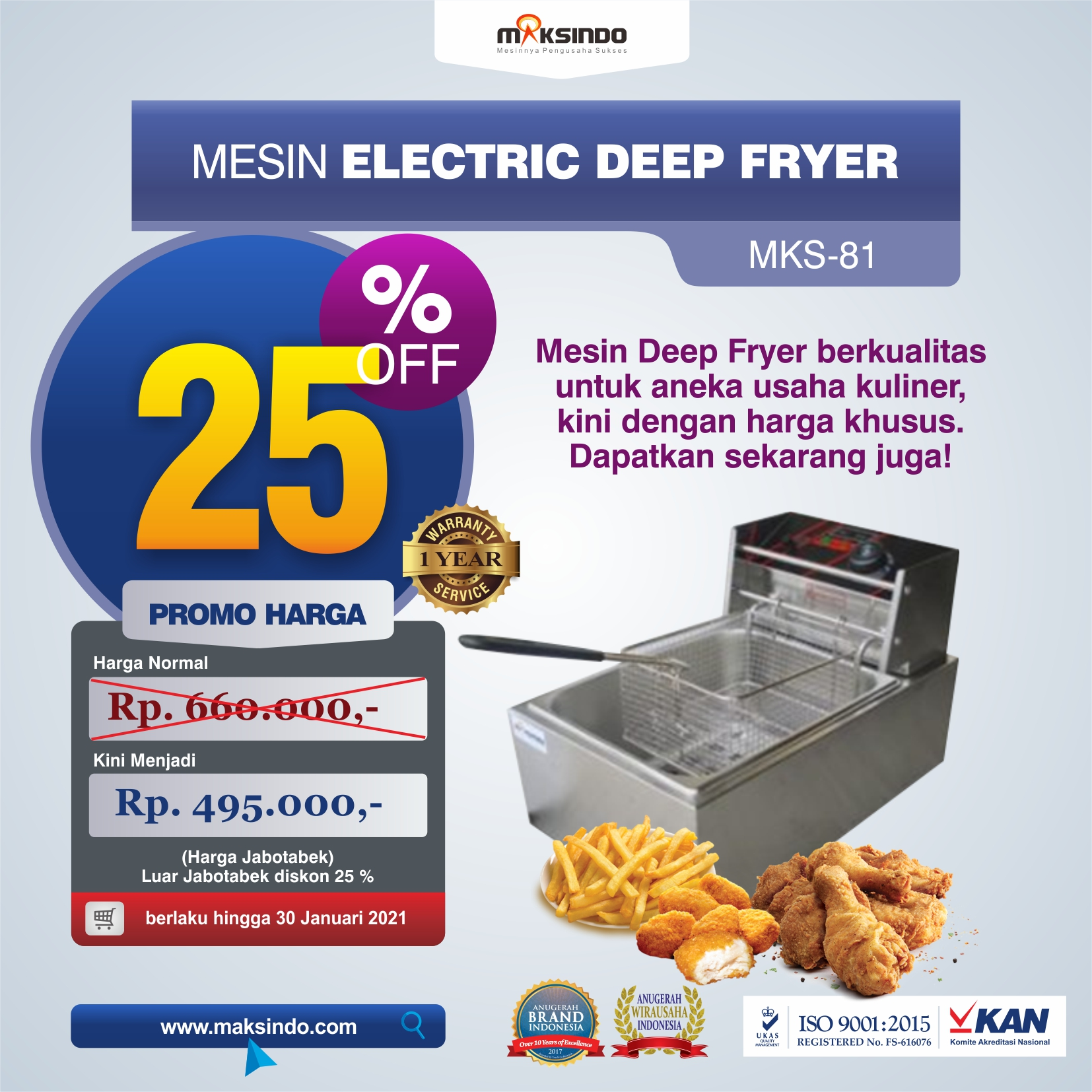 Jual Mesin Electric Deep Fryer MKS-81 di Makassar