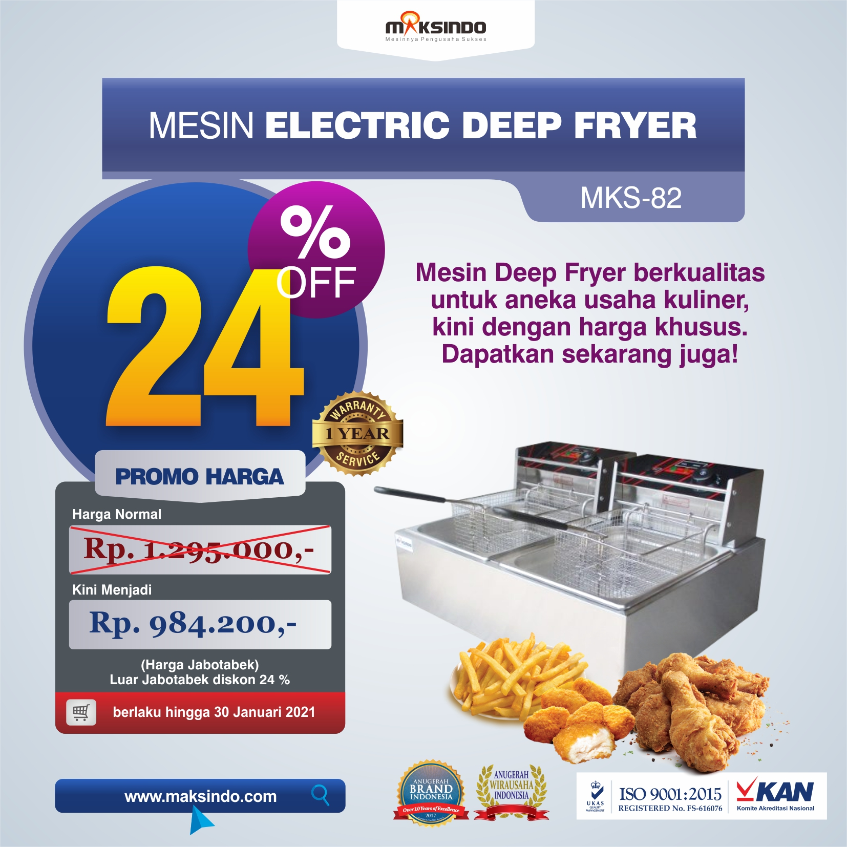 Jual Mesin Electric Deep Fryer MKS-82 di Makassar