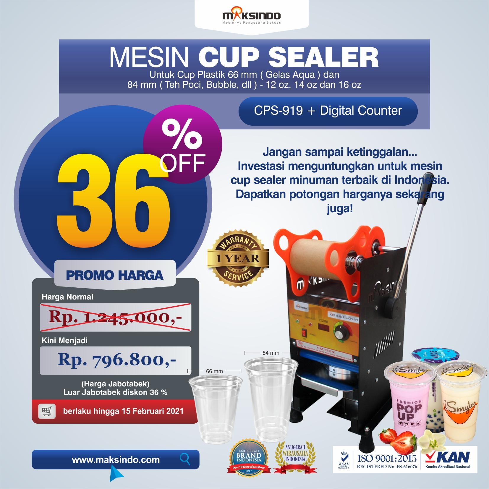 Jual Cup Sealer Manual plus Counter (CPS-919) di Makassar