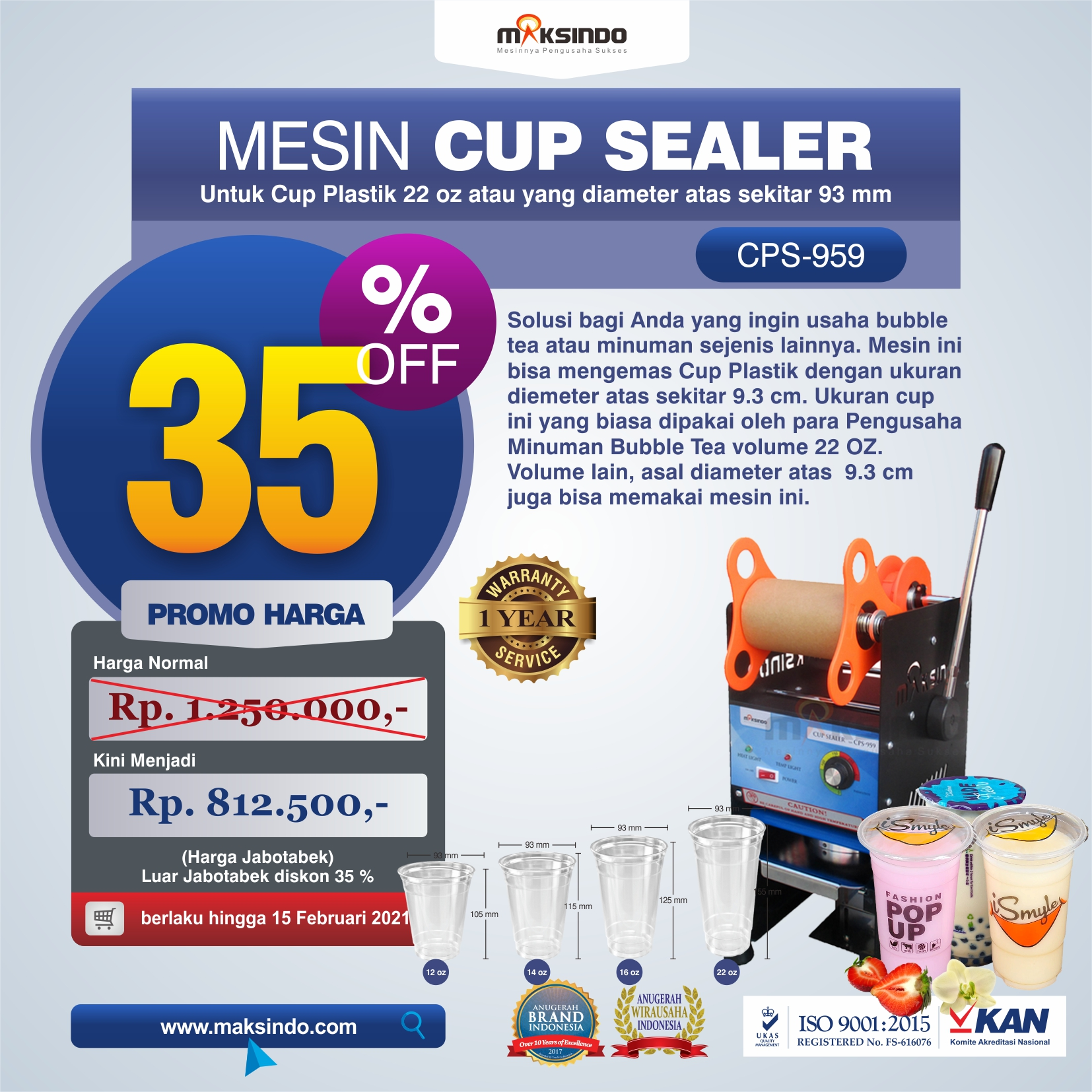 Jual Mesin Cup Sealer CPS-959 di Makassar