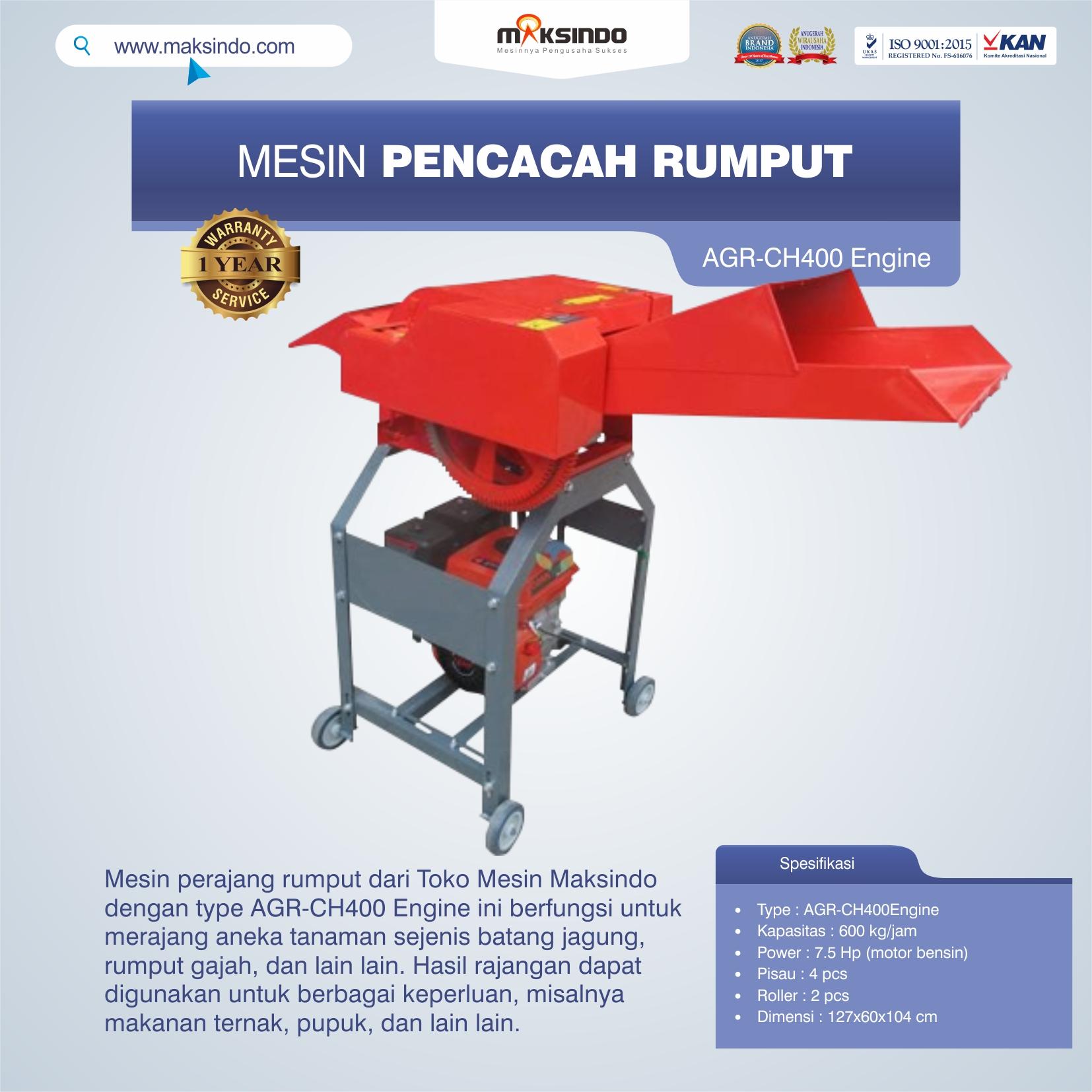 Jual Mesin Pencacah Rumput AGR-CH400 Engine di Makassar