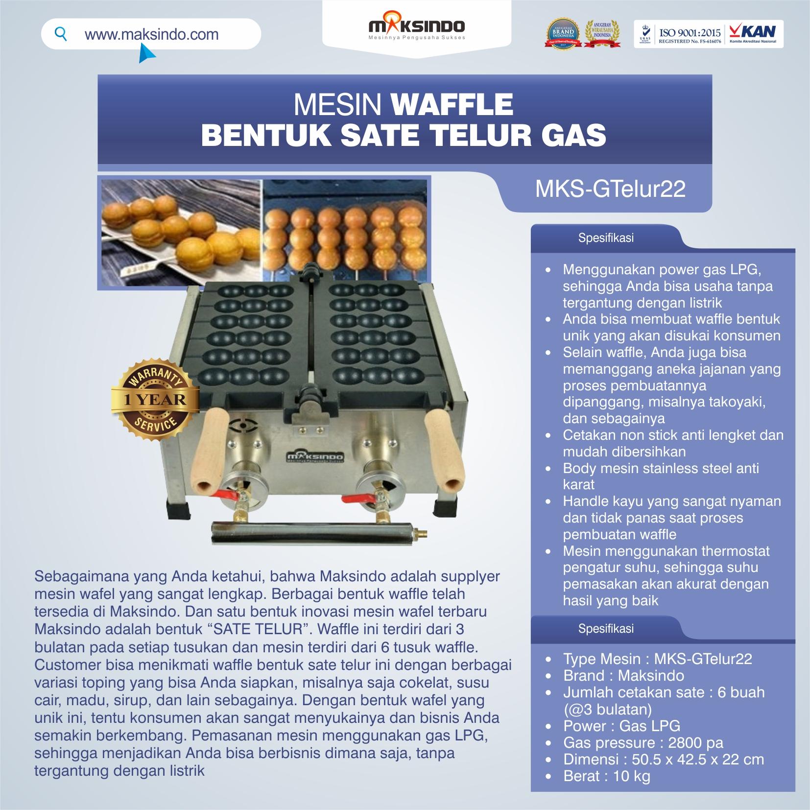 Jual Mesin Waffle Bentuk Sate Telur GAS – MKS-GTelur22 di Makassar