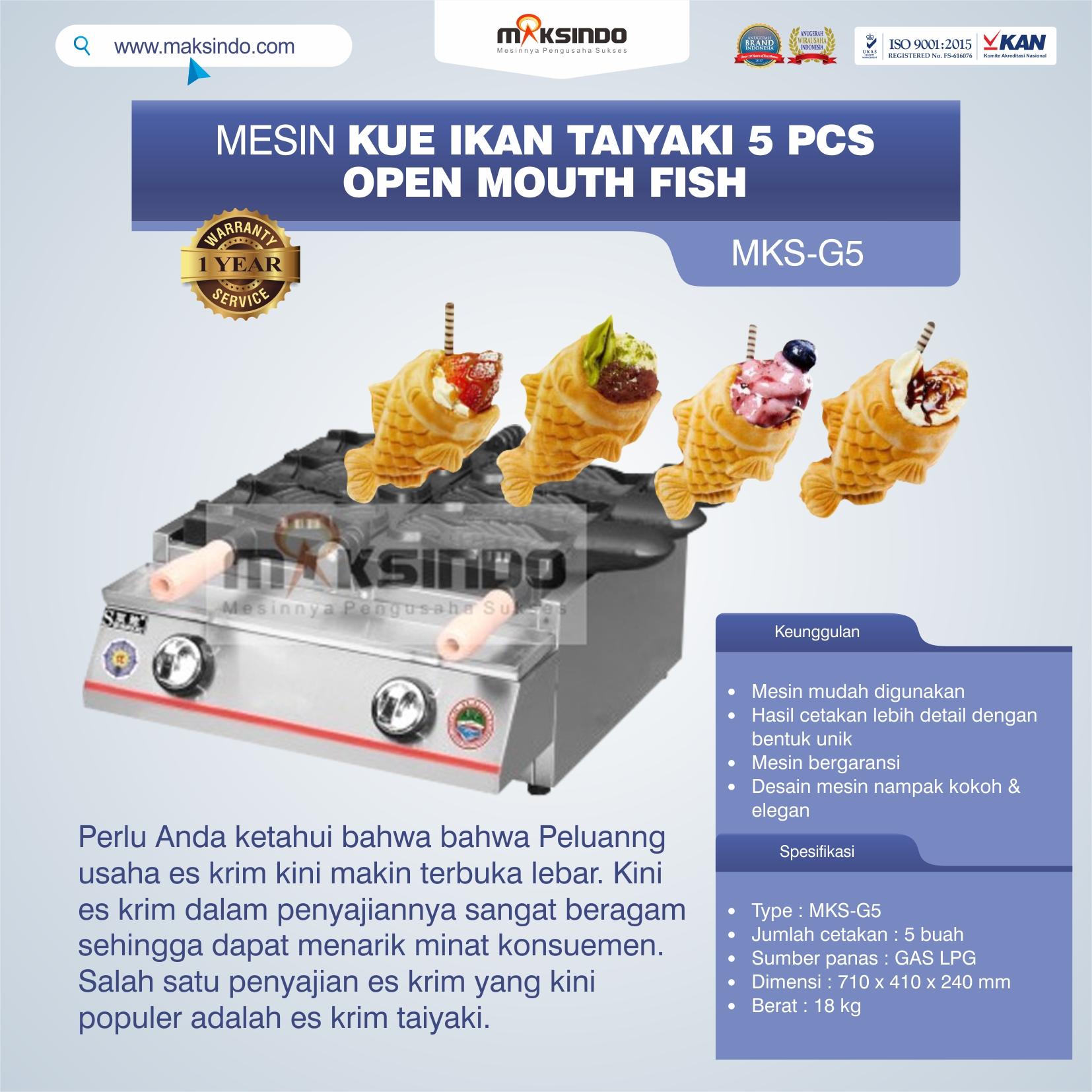 Jual Mesin Kue Ikan Taiyaki 5 Pcs – Open Mouth Fish di Makassar