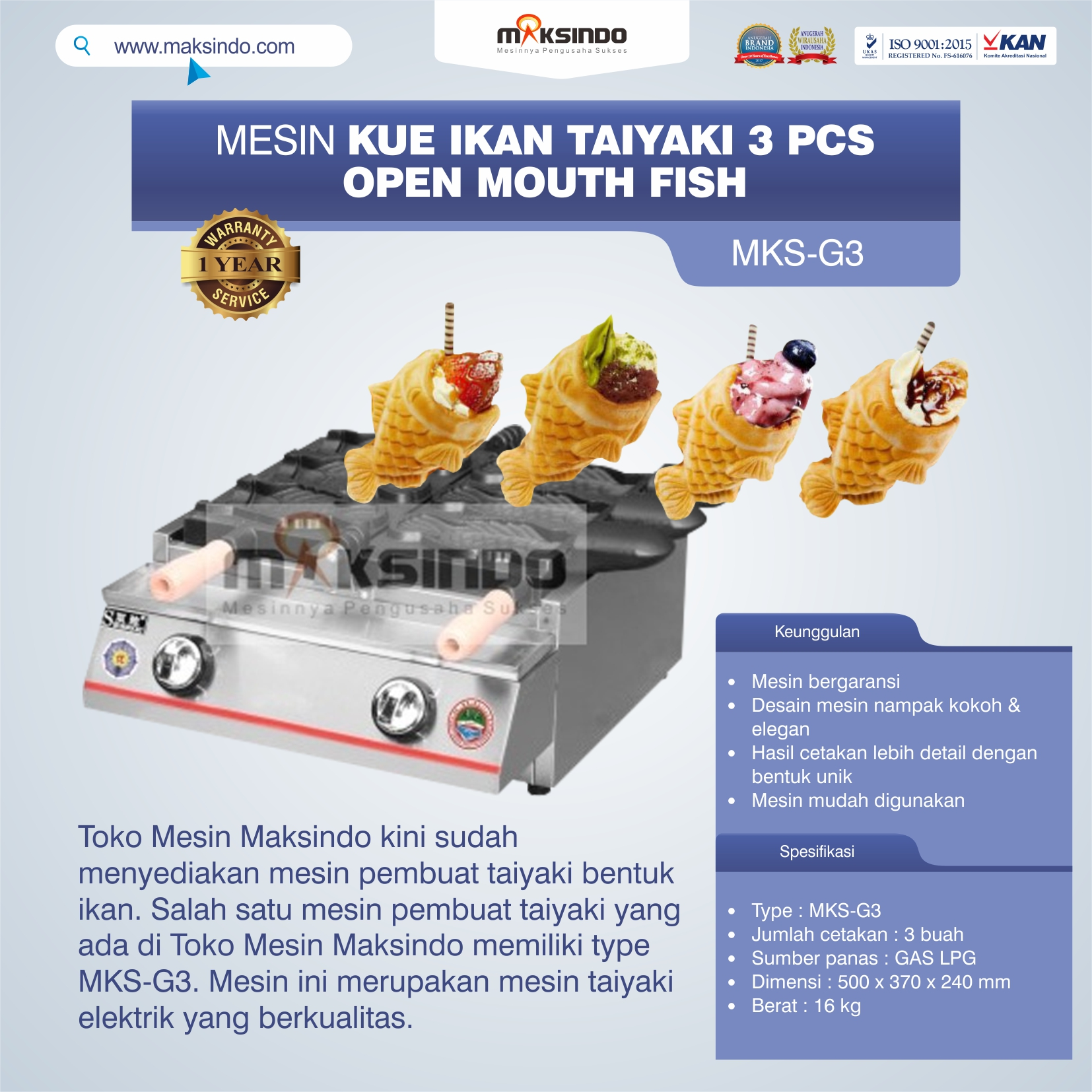Jual Mesin Kue Ikan Taiyaki (3 pcs) – Open Mouth Fish di Makassar
