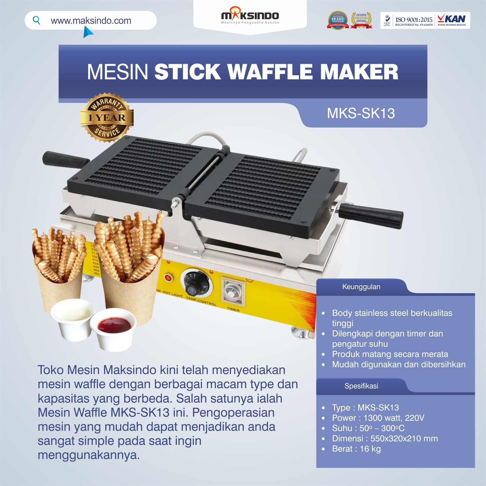 Jual Mesin Stick Waffle Maker MKS-SK13 di Makassar