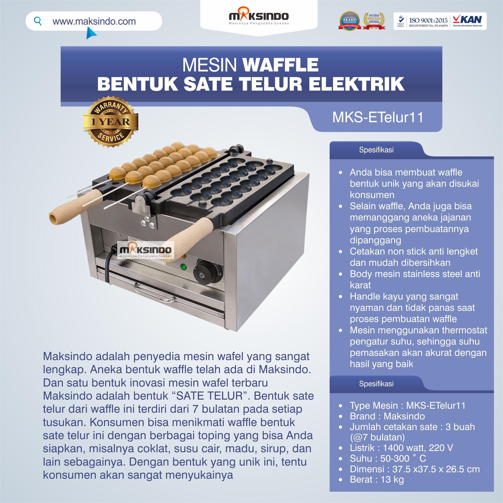 Jual Mesin Waffle Bentuk Sate Telur Elektrik – MKS-ETelur11 di Makassar
