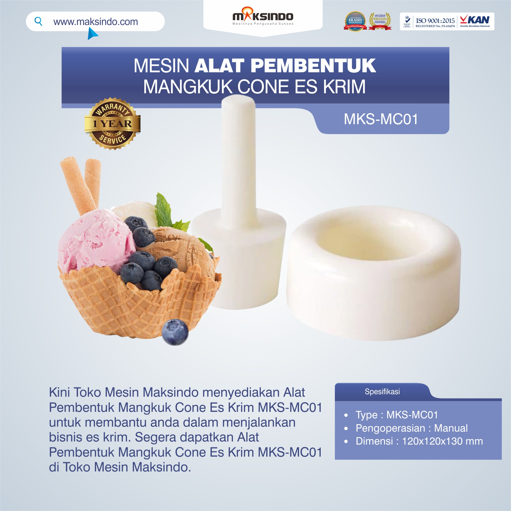 Jual Alat Pembentuk Mangkuk Cone Es Krim MKS-MC01 di Makassar